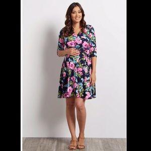 Maternity Pink Blush Navy Floral Wrap Dress